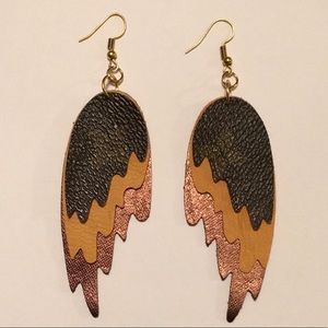 Layered Leather With Louis Vuitton Canvas Earrings